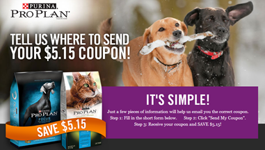 HUGE $5.15 Coupon for Purina Pro Plan Dog and Cat Food!