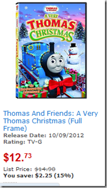 save 2 on a very thomas christmas dvd
