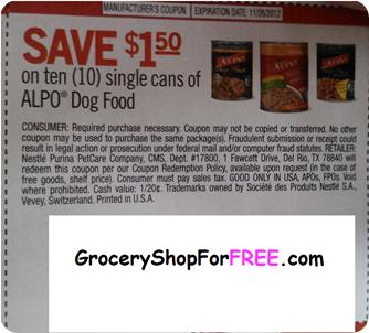 Alpo dog food coupon