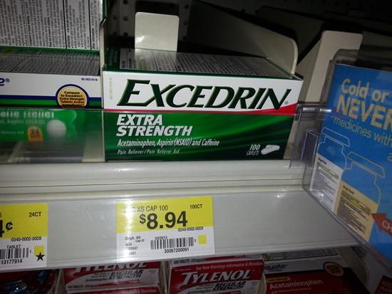 Excedrin 100ct at Walmart