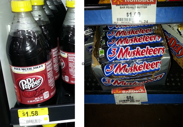 Dr Pepper and 3 Musketeers at Walmart