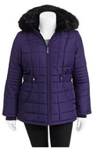 5ef9be7c0dd Head over to Walmart.com and get this Faded Glory Women s Plus-Size Fashion  Puffer Coat with Fur-Lined Hood in Plum for Only  23.00 (reg.