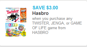 Twister, Jenga, or Game of Life Coupon