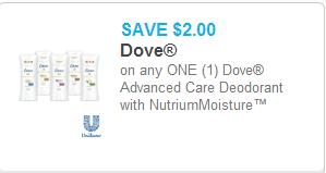 Dove Advanced Care Deodorant Coupon