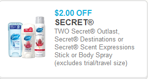 Secret Deodorant Coupon
