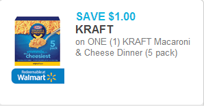 Kraft Mac & Cheese 5pks Coupon