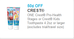 Crest Kids Toothpaste Coupon