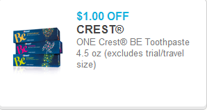 Crest Be Toothpaste Coupon