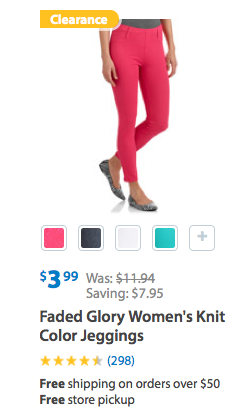9783b274a2232c Faded Glory Women's Knit Color Jeggings Only $3.99 (Reg. $11.94)!