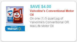valvoline motor oil coupon