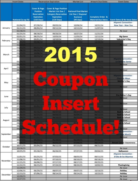 2015 Coupon Insert Schedule!
