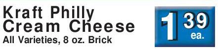 kraft philadelphia cream cheese price match