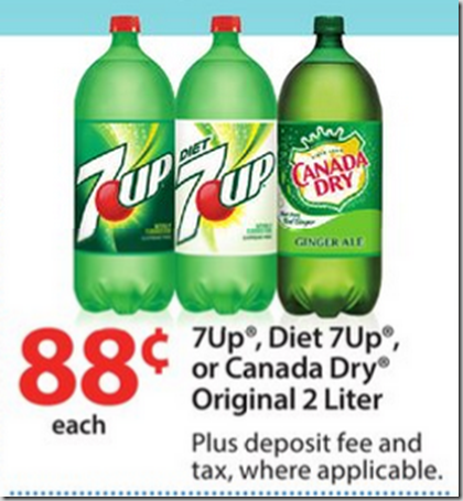 Canada Dry or 7Up 2 Liter Bottles Just $.33 Each at Walmart!