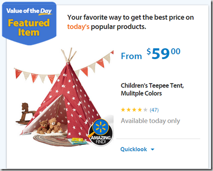 Walmart Values of the Day: Energizer LED Light Just $17.79 or Children's Teepee Tent for $59!