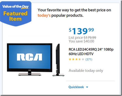 """Walmart Values of the Day: Farberware Knife Set for $39.97 or 24"""" HDTV Just $139!"""