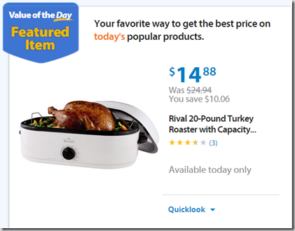 Walmart Values of the Day: Rivel Turkey Roaster for $14.88 or Avia Women's V-Neck Tee for $4.00!