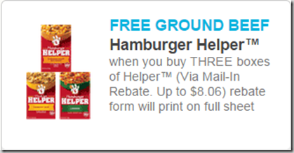 Walmart Price Match deal: Hamburger Helper Just $.75 a Box and a FREE Pound of Hamburger Meat!