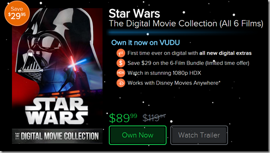 First Time Ever: Get the Star Wars Saga on Digital Download!