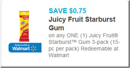 Juicy Fruit Starburst Gum 3pks Just $1.49 at Walmart!