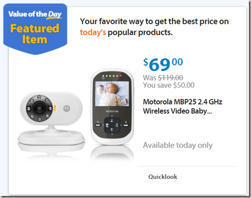 Walmart Values of the Day: Motorola baby Monitor for $69 or Faded Glory Shorts for $2.47!