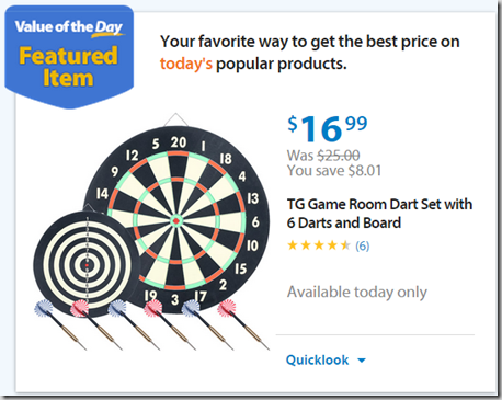 Walmart Values of the Day: Dartboard for $16.99 or Murray Lawnmower for $199!