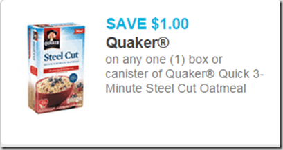 New Printable Coupons and Matchups for Quaker Steel Cut Oats and Real Medleys Cereal!