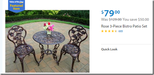 Walmart Value Of The Day Rose 3 Piece Bistro Patio Set Just 79