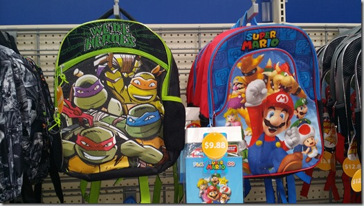 Teenage Mutant Ninja Turtles and Mario brand backpacks at Walmart for $9.88