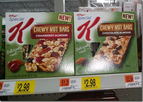Half Price Kellogg's Special K Chewy Nut Bars at Walmart!