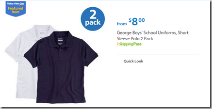 Walmart Values Of The Day George Boys Or Girls School Uniforms For 8