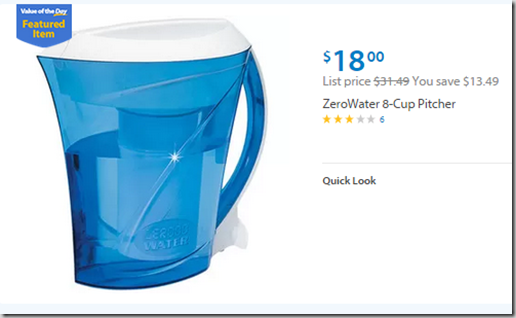 Walmart Value of the Day: ZeroWater 8-Cup Pitcher Just $18!