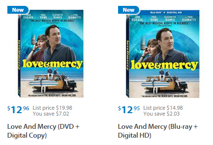 Love & Mercy on DVD or Blu-Ray for $9.95 at Walmart!