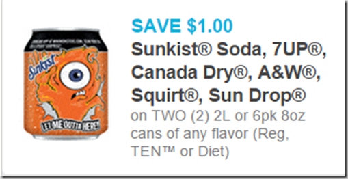 Sunkist, 7UP, Canada Dry, A&W, Squirt and Sun Drop 2L are $.50 Each at Walmart!