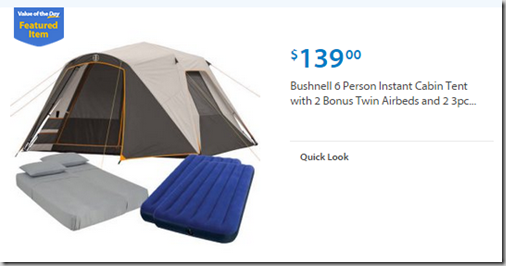 Walmart Values of the Day: Bushnell Tent Kit for $139 or Samsung Chromebook for $169!