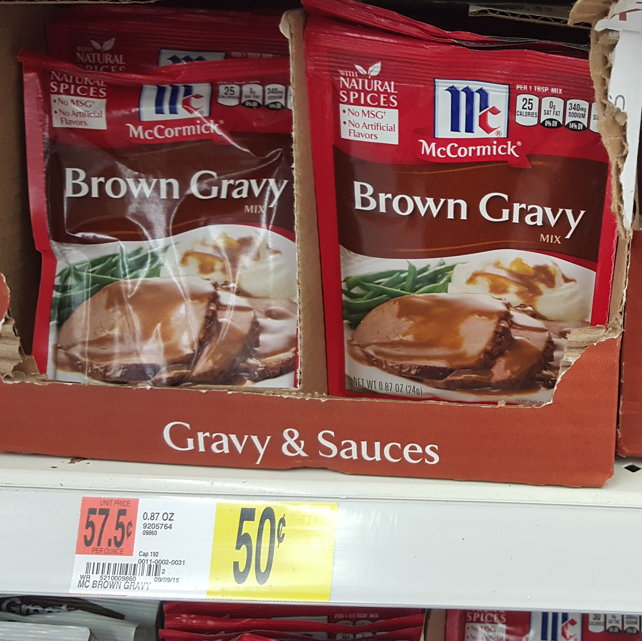 McCormick Brown Gravy Mix Just $.25 at Walmart!