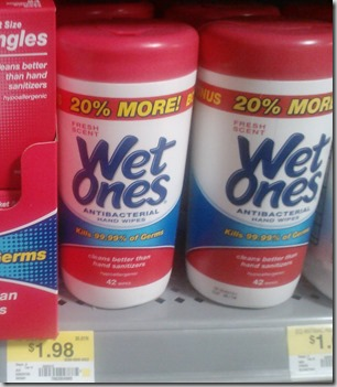 FREE Wet Ones with Overage at Walmart!