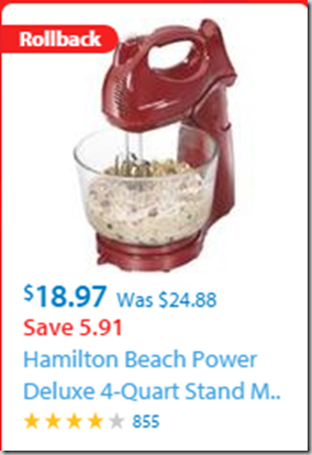 Walmart Black Friday Rollback Deal: Hamilton Beach Power Deluxe 4-Quart Stand Mixer Just $18.97!