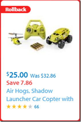 Walmart Black Friday Rollback Deal: Air Hogs, Shadow Launcher Car Copter with Bonus Batteries for $25!