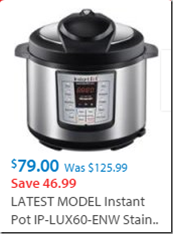 Walmart Black Friday Deal: Instant Pot IP-LUX60-ENW Stainless Steel 6-in-1 Pressure Cooker with Mini Mitts for $79!