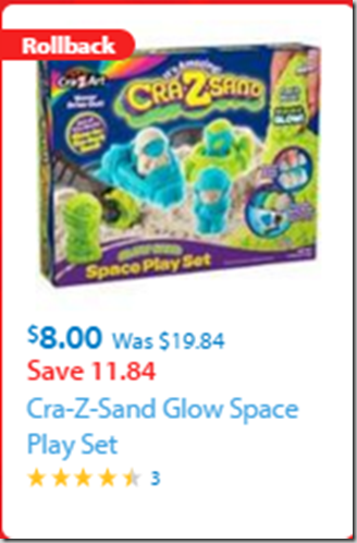 Walmart Black Friday Rollback Deal: Cra-Z-Sand Glow Space Play Set Just $8!