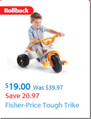 Walmart Black Friday Deal: Fisher-Price Tough Trike for Half-Price!