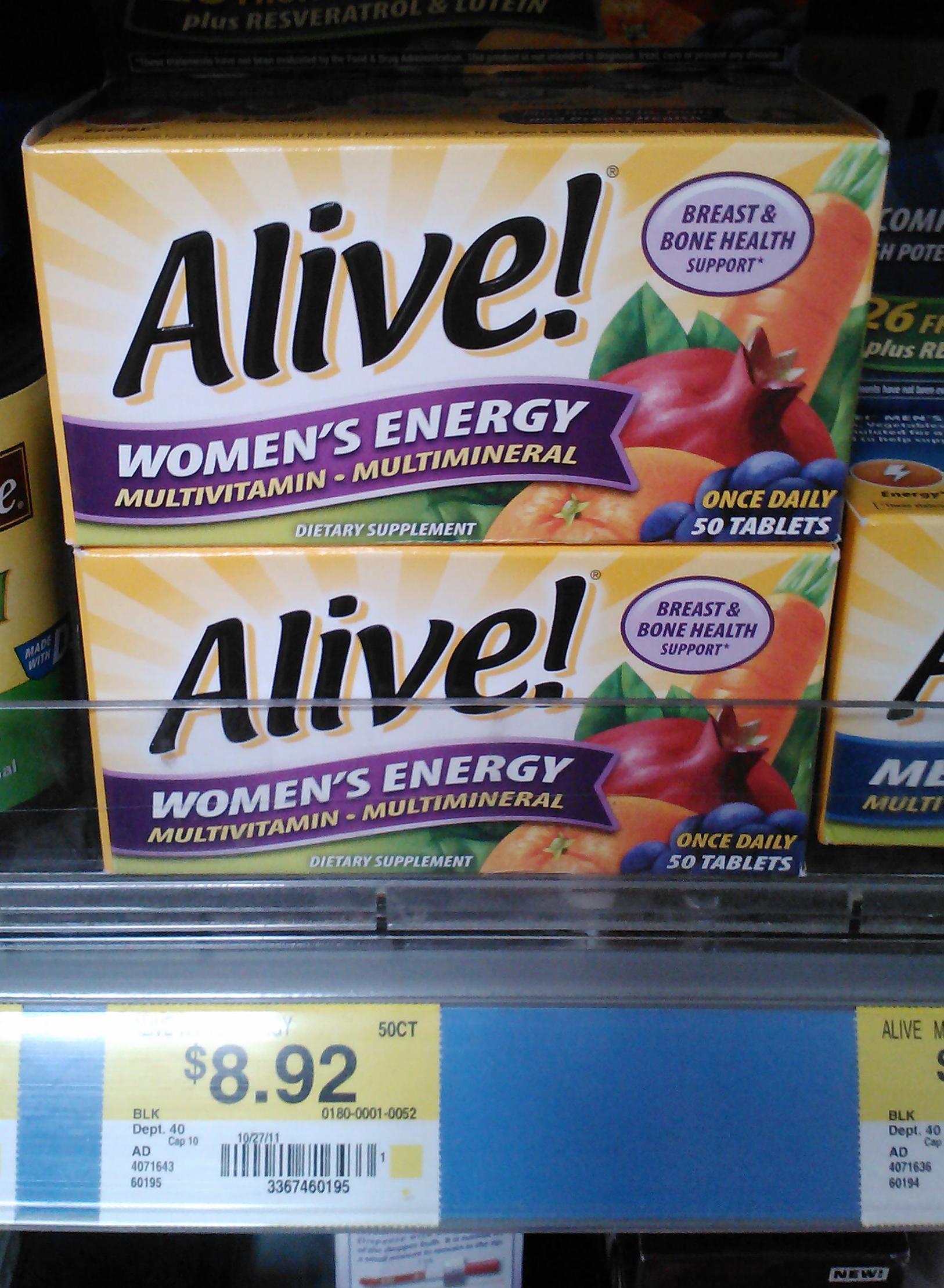 Alive! Multi-vitamin Just $6.92 at Walmart!