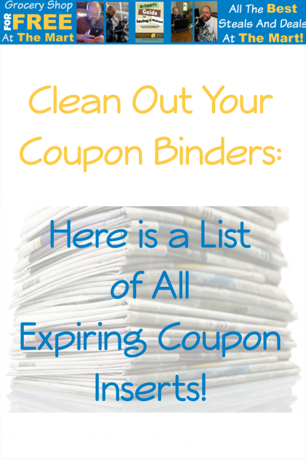 Clean Out Your Coupon Binders Here is a List of All Expiring Coupon Inserts!