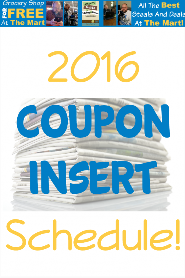 2016 Coupon Insert Schedule!