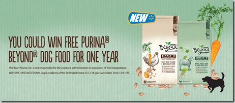Enter to Win a FREE Year of Purina Beyond Dog Food From Walmart!