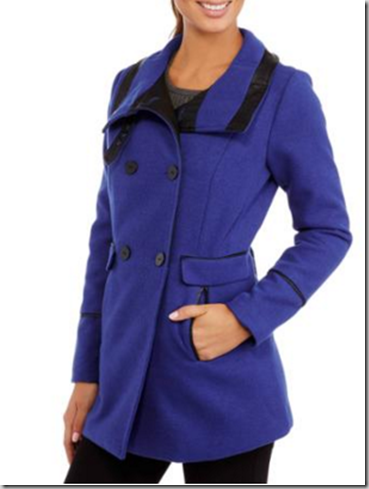 Women's Classic Double-Breasted Faux Wool Peacoat With Faux Leather Trim Just $16!
