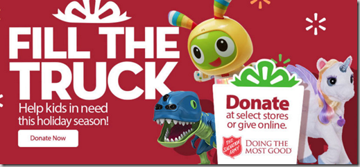 Donate Gifts or Money Through the Fill the Truck Salvation Army Toy Drive at Your Local Walmart!