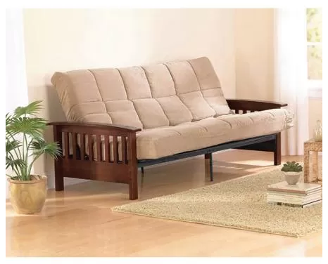 Better homes gardens mission wood arm futon heirloom cherry just 219 at walmart for Walmart better homes and gardens futon