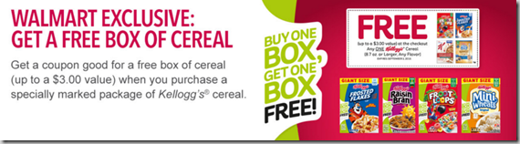 Get a FREE Box of Kellogg's Cereal Exclusively at Walmart!