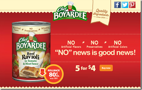 Chef Boyardee on RollBack For Just $.80 at Walmart!